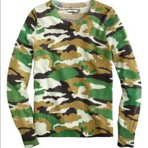 NEW JCREW CAMO CASHMERE SWEATER LARGE